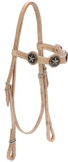Cabeçada de Couro Natural para Cavalo com Afogador Bronc-Steel 21915