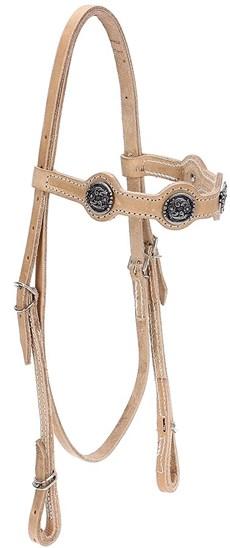 Cabeçada de Couro Natural para Cavalo com Afogador Bronc-Steel 21917