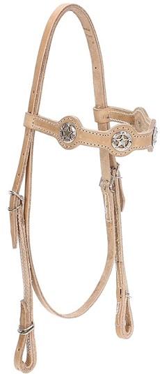 Cabeçada de Couro Natural para Cavalo com Afogador Bronc-Steel 21918