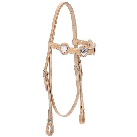 Cabeçada de Couro Natural para Cavalo com Afogador Bronc-Steel 21919