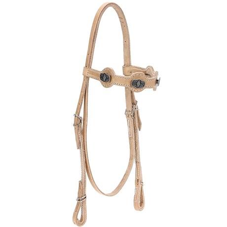 Cabeçada de Couro Natural para Cavalo com Afogador Bronc-Steel 21920