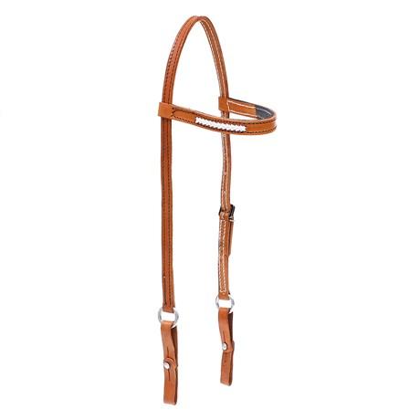 Cabeçada de Couro para Cavalo com Testeira Bronc-Steel 26718