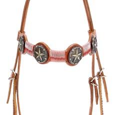 Cabeçada de Couro para Cavalo com Testeira Bronc-Steel Havana 21952