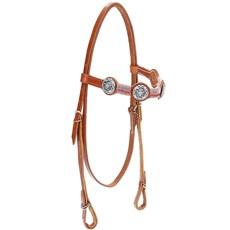 Cabeçada de Couro para Cavalo com Testeira Bronc-Steel Havana 21953