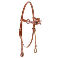 Cabeçada de Couro para Cavalo com Testeira Bronc-Steel Havana 21954