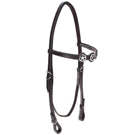 Cabeçada de Couro para Cavalo com Testeira Bronc-Steel Marrom 21905