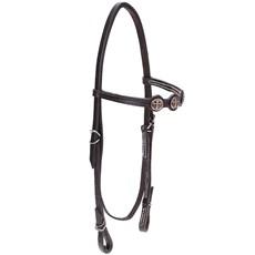 Cabeçada de Couro para Cavalo com Testeira Bronc-Steel Marrom 21906