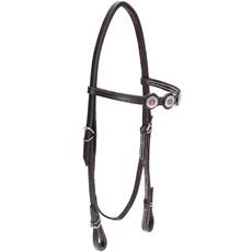 Cabeçada de Couro para Cavalo com Testeira Bronc-Steel Marrom 21908
