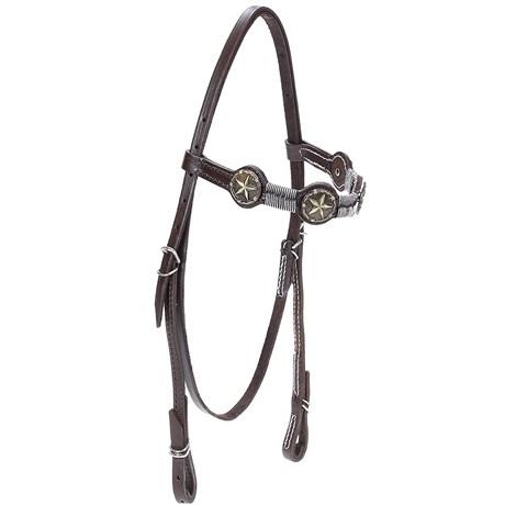 Cabeçada de Couro para Cavalo com Testeira Bronc-Steel Marrom 21941