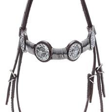 Cabeçada de Couro para Cavalo com Testeira Bronc-Steel Marrom 21942