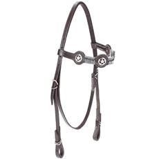Cabeçada de Couro para Cavalo com Testeira Bronc-Steel Marrom 21943