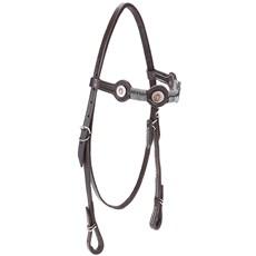 Cabeçada de Couro para Cavalo com Testeira Bronc-Steel Marrom 21945