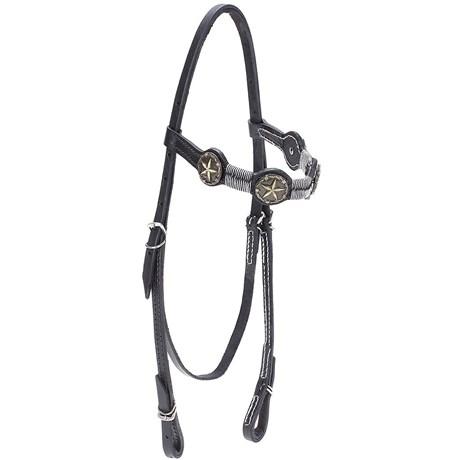 Cabeçada de Couro para Cavalo com Testeira Bronc-Steel Preta 21947