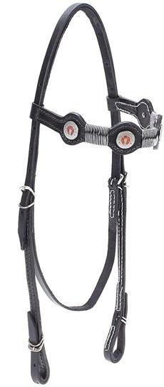 Cabeçada de Couro para Cavalo com Testeira Bronc-Steel Preta 21949