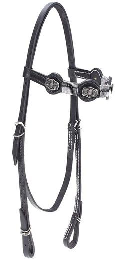 Cabeçada de Couro para Cavalo com Testeira Bronc-Steel Preta 21950