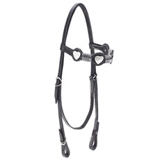 Cabeçada de Couro para Cavalo com Testeira Bronc-Steel Preta 21951