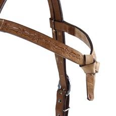 Cabeçada de Couro para Cavalo Testeira Nó com Afogador Rodeo West 25388
