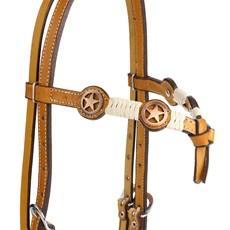 Cabeçada de Couro Testeira Nó com Afogador e Apliques Estrela Cobre Envelhecido Rodeo West 25463