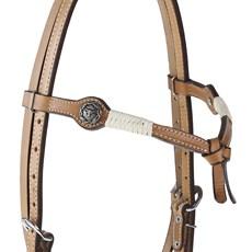 Cabeçada de Couro Testeira Nó com Afogador e Apliques Prata Envelhecido Rodeo West 25461