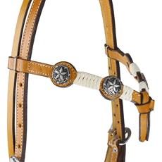 Cabeçada de Couro Testeira Nó com Apliques Estrela Prata Envelhecida Rodeo West 25466