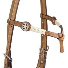 Cabeçada de Couro Testeira Nó para Cavalo com Afagodor e Apliques Estrela Rodeo West 25457