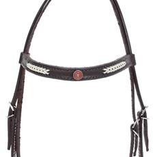Cabeçada para Cavalo com Testeira Bronc-Steel Couro Marrom 21933