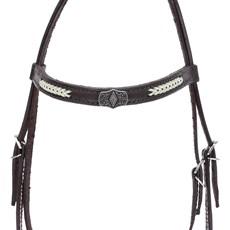 Cabeçada para Cavalo com Testeira Bronc-Steel Couro Marrom 21936