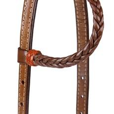 Cabeçada para Cavalo Couro Trançado 1 Orelha Rodeo West 24077