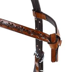 Cabeçada para Cavalo de Couro Testeira Nó com Afogador Rodeo West 25387