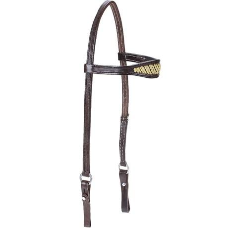 Cabeçada para Cavalo em Couro Marrom com Testeira Larga - Bronc-Steel 18507