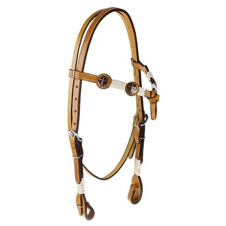 Cabeçada para Cavalo Testeira Nó com Afogador e Apliques em Cruz Rodeo West 25465
