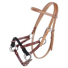 Cabeçada Side Pull de Couro para Cavalos Top Equine 23068