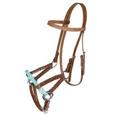 Cabeçada Side Pull de Couro para Cavalos Top Equine 24988