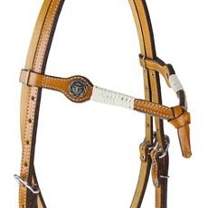 Cabeçada Testeira Nó de Couro com Apliques em Prata Envelhecida Rodeo West 25456