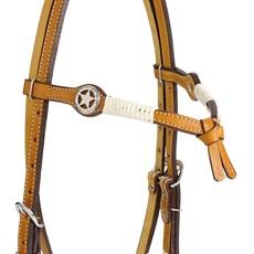 Cabeçada Testeira Nó de Couro para Cavalo com Apliques Estrela Rodeo West 25452