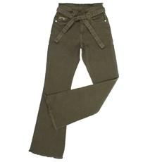 Calça Feminina Cintura Alta Verde Militar com Elastano Tassa 27591