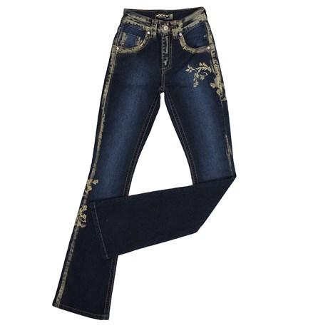 Calça Feminina Flare Pintada Cintura Alta Azul 24559