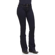 Calça Feminina Jeans Escuro Flare Rodeo Western 24611