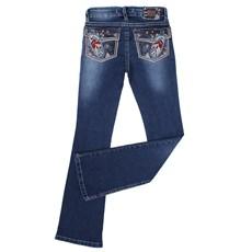 Calça Flare Jeans Escuro Feminina Tassa Gold Bordada 22677