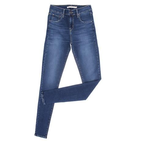 Calça Jeans Azul Feminina Cintura Alta Super Skinny Detalhes Destroyed Levi's 29062