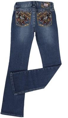 Calça Jeans com Bolso Bordado Feminina Azul Tassa Gold 21491