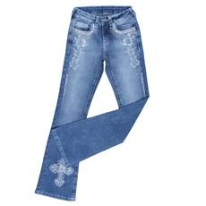 Calça Jeans Feminina Azul Boot Cut Bordada com Elastano Tassa Gold 25445