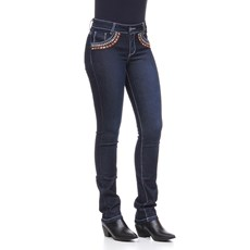 Calça Jeans Feminina Azul Bordada com Elastano Smith Brothers 25580