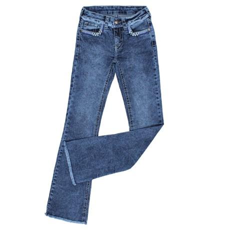 Calça Jeans Feminina Barra Desfiada Boot Cut com Elastano Tassa Gold 24850
