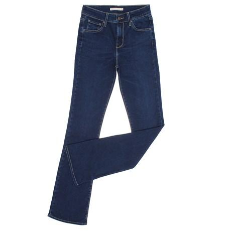 Calça Jeans Feminina Boot Cut com Cintura Alta 725 Azul Escuro Levi's 29173