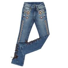 Calça Jeans Feminina Boot Cut com Elastano Bordada Tassa Gold 25446