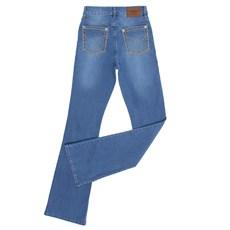 Calça Jeans Feminina Cintura Alta Boot Cut Azul com Elastano Tassa 28148