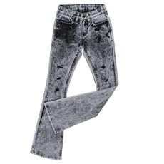 Calça Jeans Feminina Cinza Bordada Boot Cut com Elastano Tassa 25430