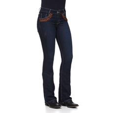 Calça Jeans Feminina Flare Bordada Azul com Elastano Smith Brothers 25581