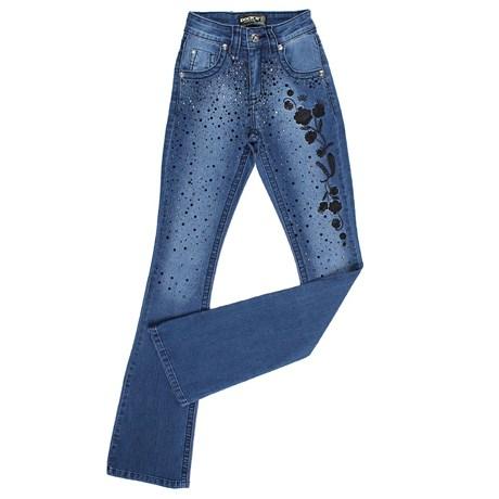 Calça Jeans Feminina Flare Bordada Dock's 24270